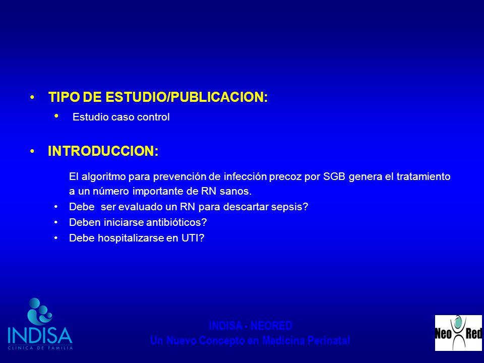INDISA - NEORED Un Nuevo Concepto en Medicina Perinatal TIPO DE ESTUDIO/PUBLICACION: Estudio caso control INTRODUCCION: El algoritmo para prevención d