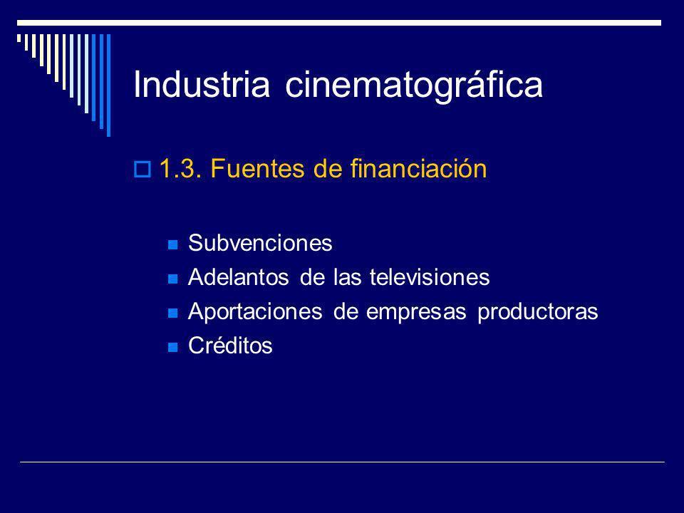 Industria cinematográfica 1.3. Fuentes de financiación Subvenciones Adelantos de las televisiones Aportaciones de empresas productoras Créditos