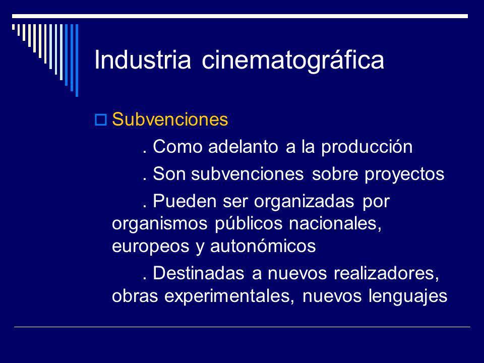 Industria cinematográfica Subvenciones. Como adelanto a la producción. Son subvenciones sobre proyectos. Pueden ser organizadas por organismos público