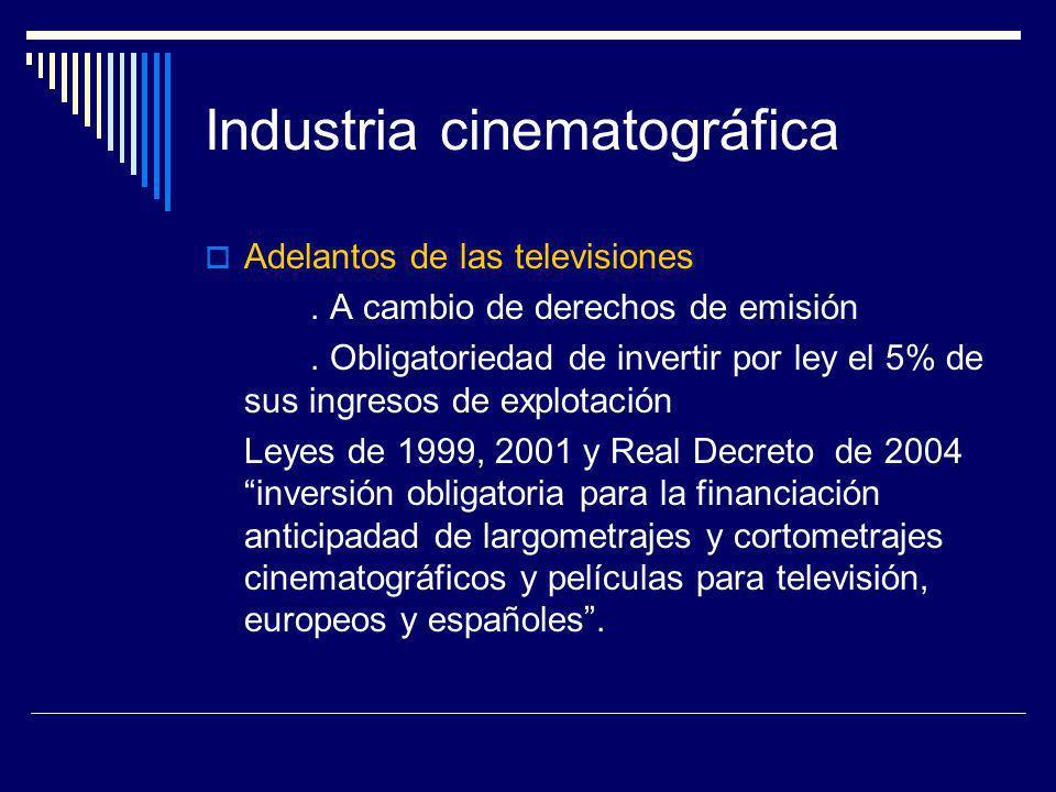 Industria cinematográfica Adelantos de las televisiones. A cambio de derechos de emisión. Obligatoriedad de invertir por ley el 5% de sus ingresos de