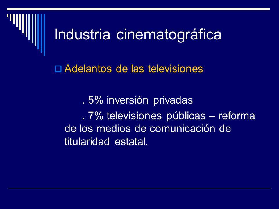 Industria cinematográfica Adelantos de las televisiones. 5% inversión privadas. 7% televisiones públicas – reforma de los medios de comunicación de ti