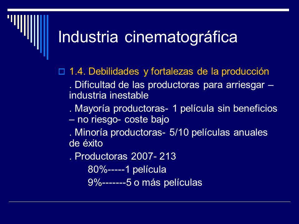 Industria cinematográfica 1.4. Debilidades y fortalezas de la producción. Dificultad de las productoras para arriesgar – industria inestable. Mayoría