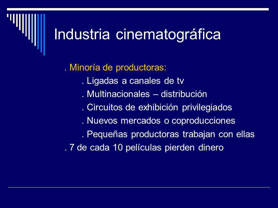 Industria cinematográfica. Minoría de productoras:. Ligadas a canales de tv. Multinacionales – distribución. Circuitos de exhibición privilegiados. Nu