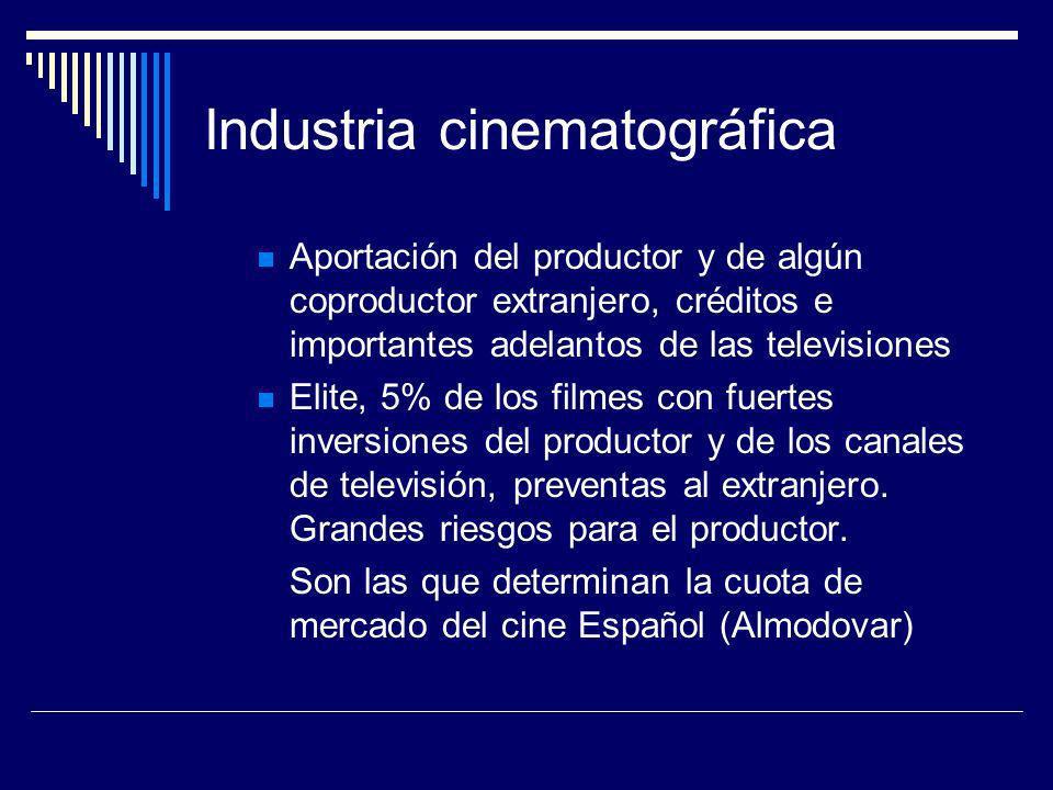 Industria cinematográfica Aportación del productor y de algún coproductor extranjero, créditos e importantes adelantos de las televisiones Elite, 5% d