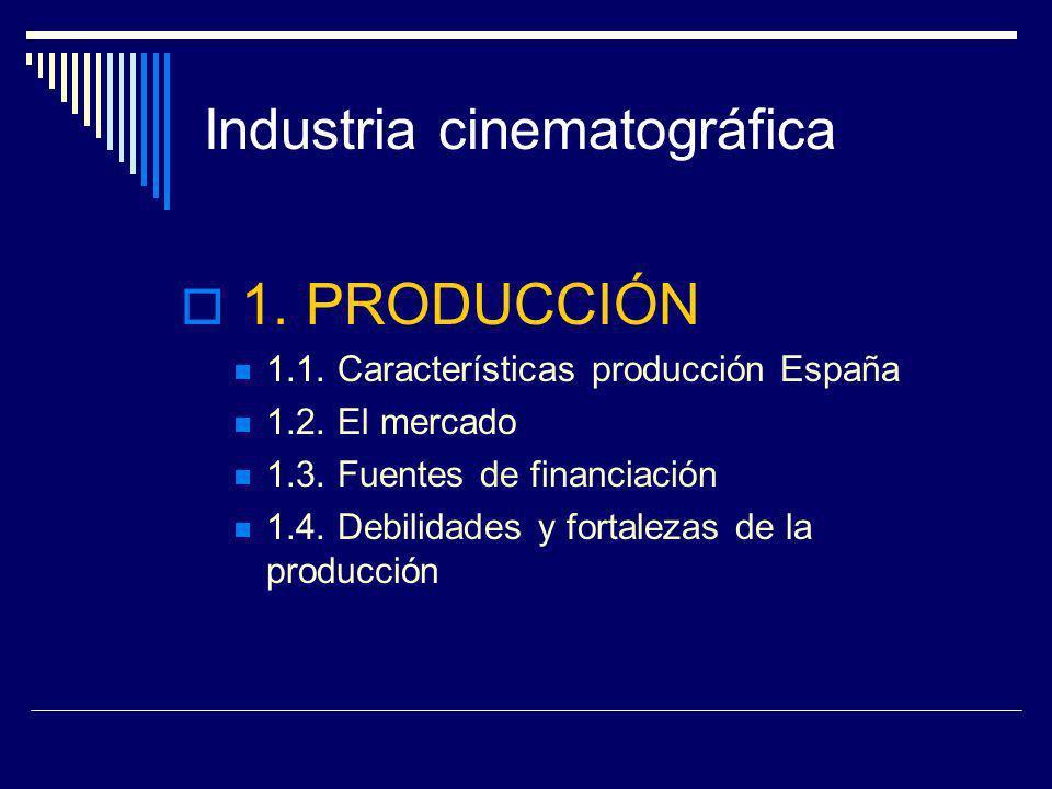 Industria cinematográfica 1. PRODUCCIÓN 1.1. Características producción España 1.2. El mercado 1.3. Fuentes de financiación 1.4. Debilidades y fortale