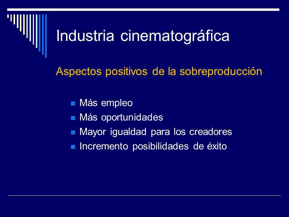 Industria cinematográfica Aspectos positivos de la sobreproducción Más empleo Más oportunidades Mayor igualdad para los creadores Incremento posibilid