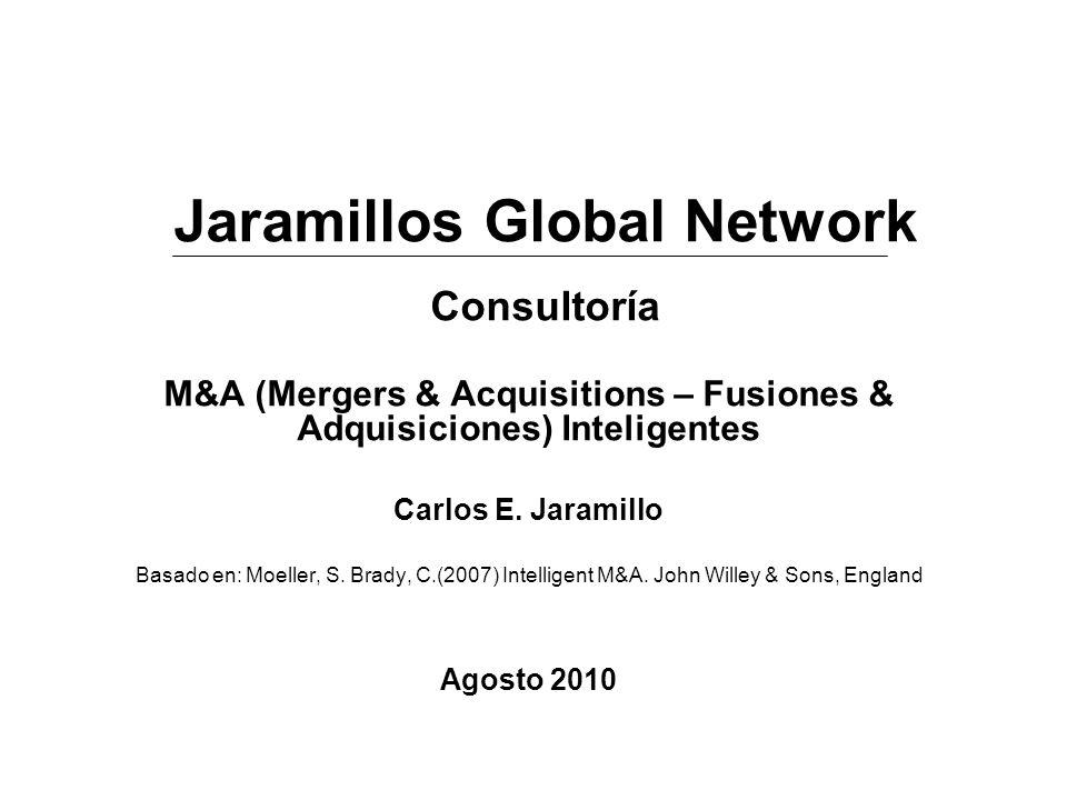 M&A (Mergers & Acquisitions – Fusiones & Adquisiciones) Inteligentes Carlos E. Jaramillo Basado en: Moeller, S. Brady, C.(2007) Intelligent M&A. John