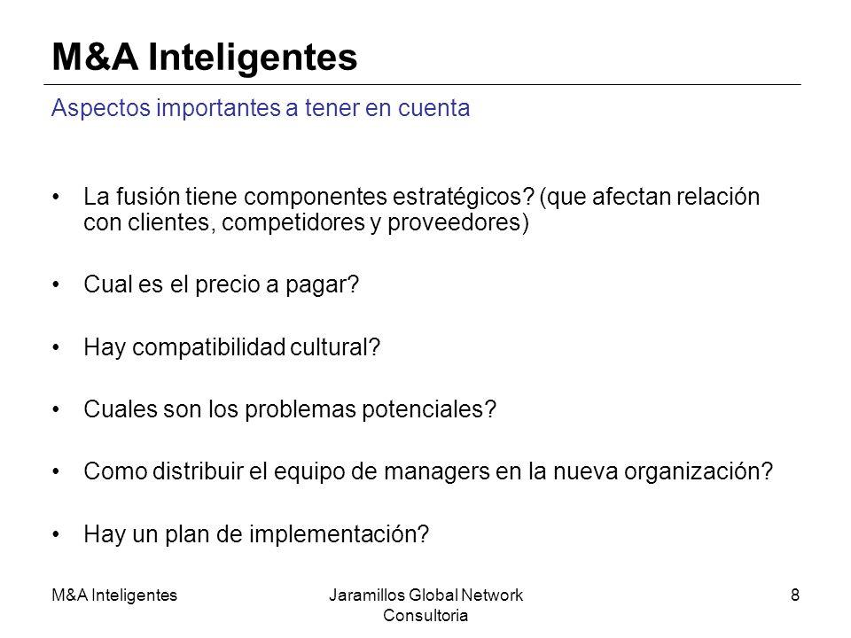 M&A InteligentesJaramillos Global Network Consultoria 8 M&A Inteligentes Aspectos importantes a tener en cuenta La fusión tiene componentes estratégic