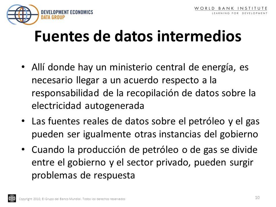 Copyright 2010, El Grupo del Banco Mundial. Todos los derechos reservados Fuentes de datos intermedios Allí donde hay un ministerio central de energía
