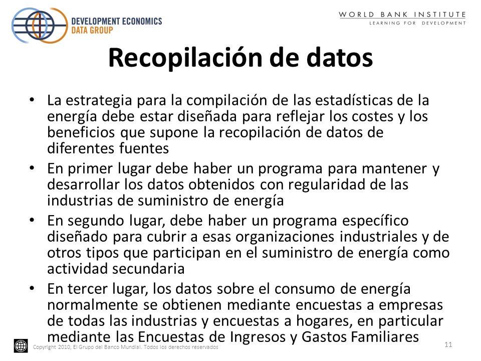 Copyright 2010, El Grupo del Banco Mundial. Todos los derechos reservados Recopilación de datos La estrategia para la compilación de las estadísticas