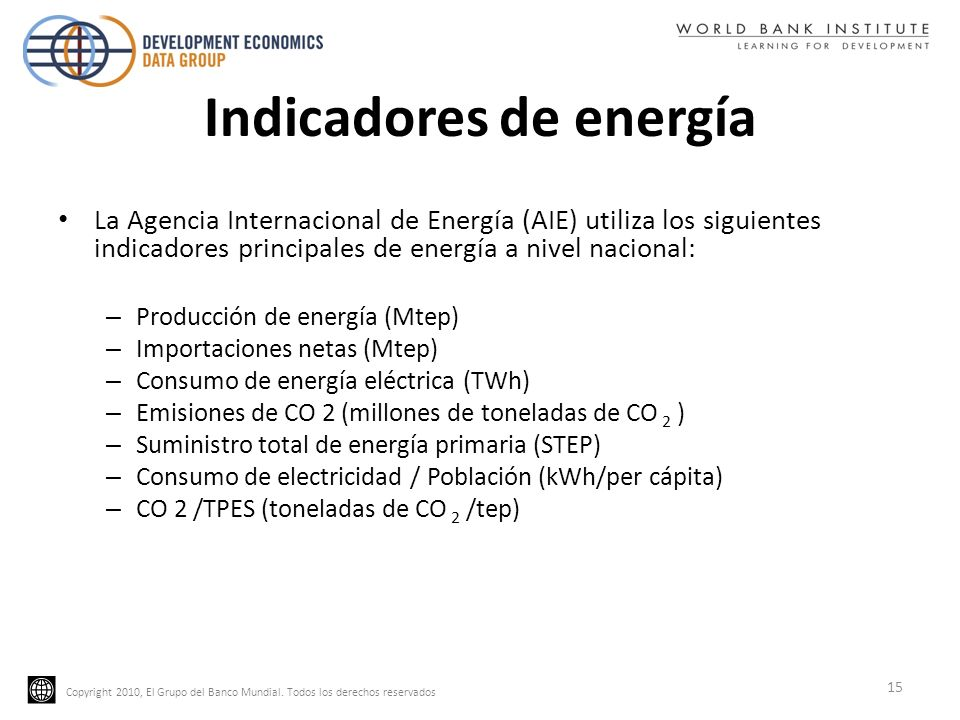 Copyright 2010, El Grupo del Banco Mundial. Todos los derechos reservados Indicadores de energía La Agencia Internacional de Energía (AIE) utiliza los
