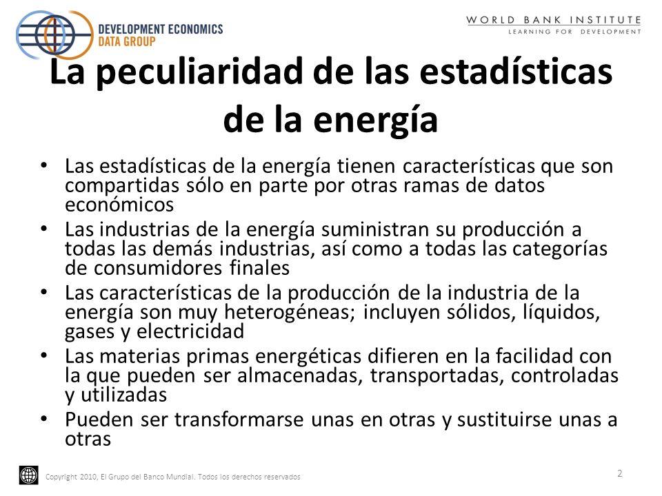 Copyright 2010, El Grupo del Banco Mundial. Todos los derechos reservados La peculiaridad de las estadísticas de la energía Las estadísticas de la ene