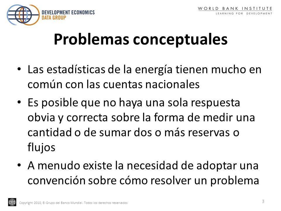 Copyright 2010, El Grupo del Banco Mundial. Todos los derechos reservados Problemas conceptuales Las estadísticas de la energía tienen mucho en común