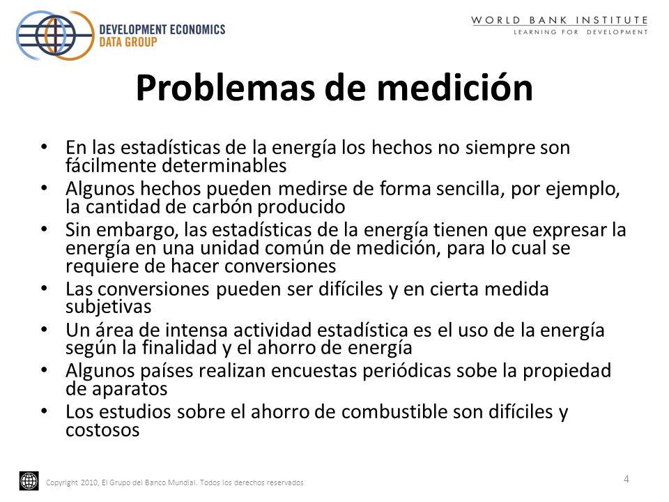 Copyright 2010, El Grupo del Banco Mundial. Todos los derechos reservados Problemas de medición En las estadísticas de la energía los hechos no siempr