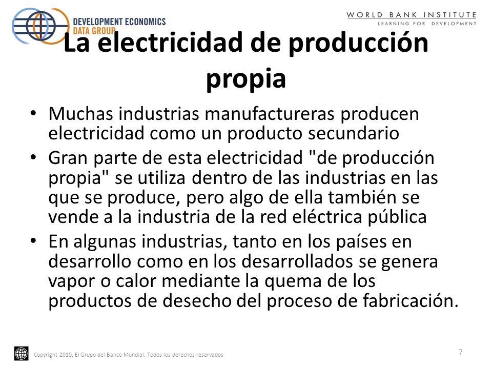 Copyright 2010, El Grupo del Banco Mundial. Todos los derechos reservados La electricidad de producción propia Muchas industrias manufactureras produc