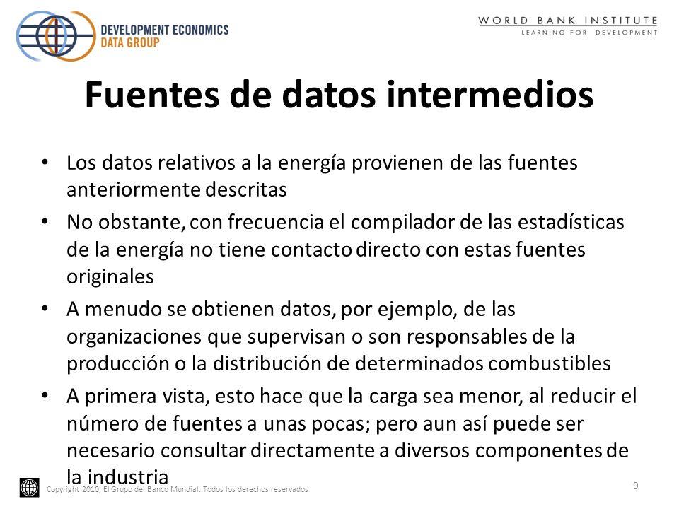 Copyright 2010, El Grupo del Banco Mundial. Todos los derechos reservados Fuentes de datos intermedios Los datos relativos a la energía provienen de l
