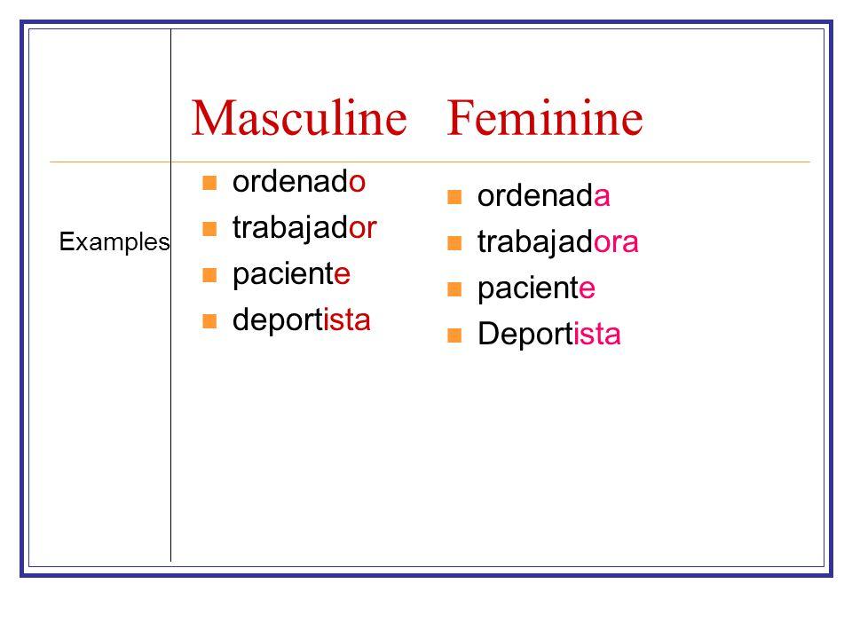 MasculineFeminine ordenado trabajador paciente deportista ordenada trabajadora paciente Deportista Examples