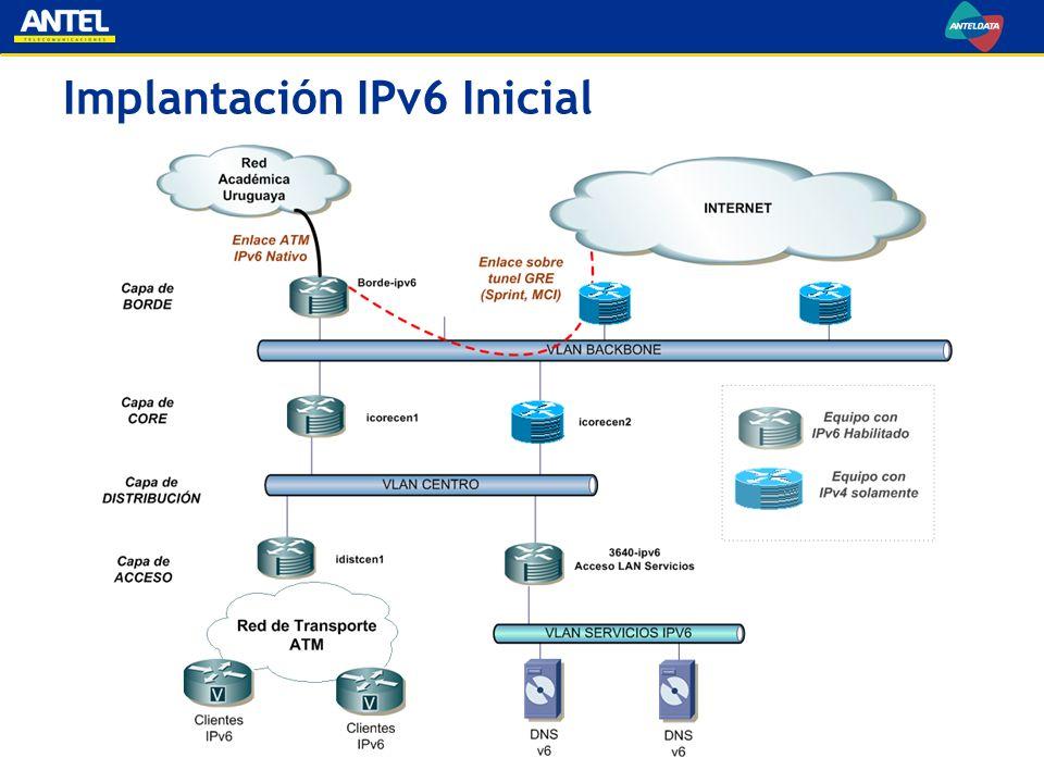 Implantación IPv6 Inicial