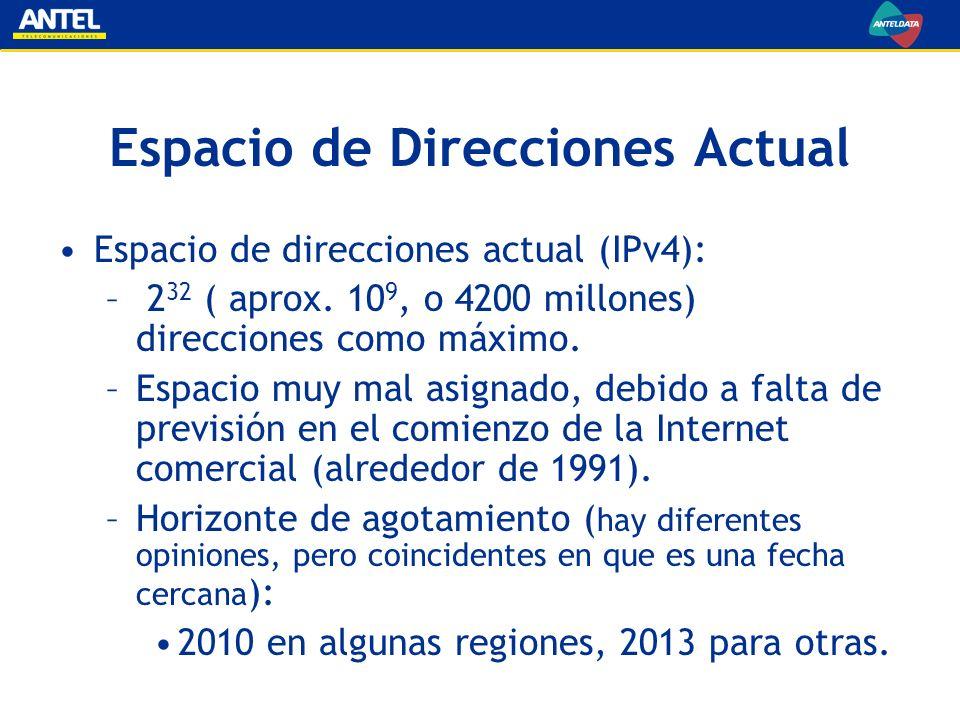 Espacio de Direcciones Actual Espacio de direcciones actual (IPv4): – 2 32 ( aprox. 10 9, o 4200 millones) direcciones como máximo. –Espacio muy mal a