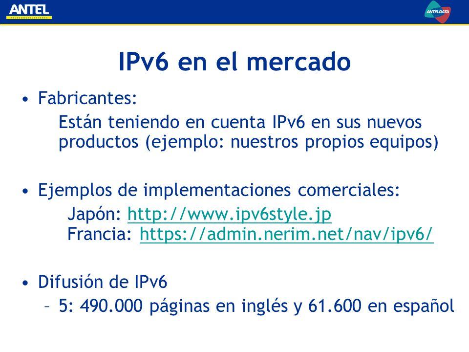 Estrategia IPv6 de ANTEL Primer paso: puesta en operación de servicios IPv6 (hecho realidad para este evento) Continuar investigando el tema y seguir de cerca el desarrollo internacional Planificar el crecimiento de las redes propias teniendo en cuenta la posibilidad de evolución simple de IPv4 a IPv6 Apoyar la difusión del conocimiento en IPv6