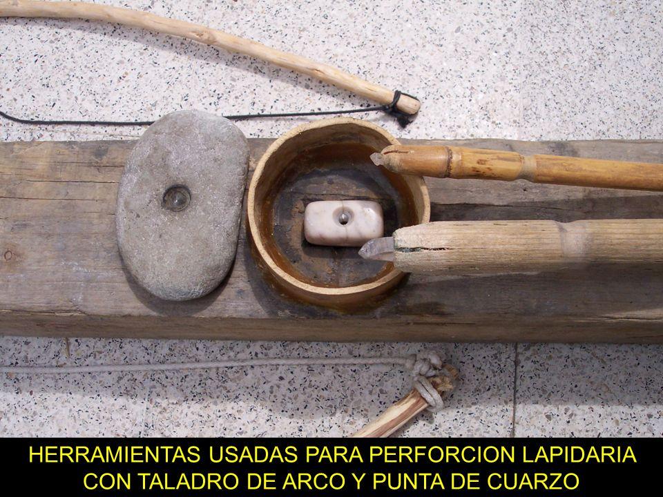 EXPERIMENTOS LAPIDARIOS El soporte manual de arco debe ser grande para sostenerlo con la mano mucho tiempo. Una perforación en obsidiana se hizo en 8