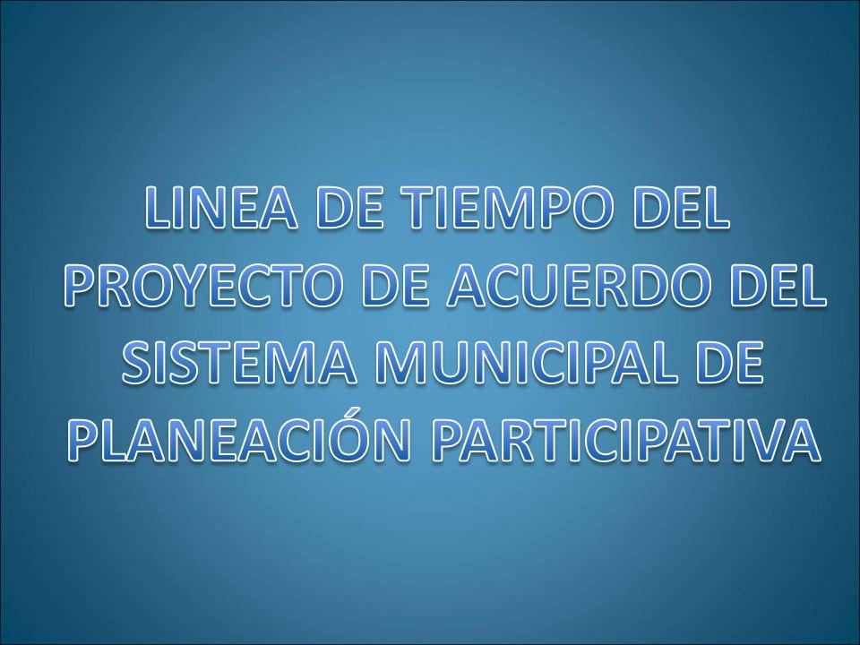 14 de Septiembre – Reunión con el Consejo Territorial de Planeación LINEA DE TIEMPO DEL PROYECTO DE ACUERDO DEL SISTEMA MUNICIPAL DE PLANEACIÓN PARTICIPATIVA Ante el CTP se presentaron los antecedentes, la justificación y la relación detallada de cada uno de los capítulos y artículos que componen la propuesta de Proyecto de Acuerdo del Sistema Municipal de Planeación Participativa.