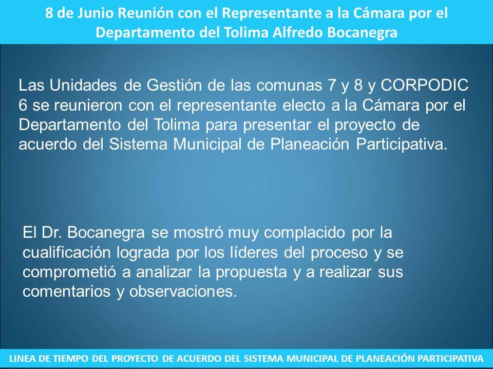 8 de Junio Reunión con el Representante a la Cámara por el Departamento del Tolima Alfredo Bocanegra LINEA DE TIEMPO DEL PROYECTO DE ACUERDO DEL SISTE
