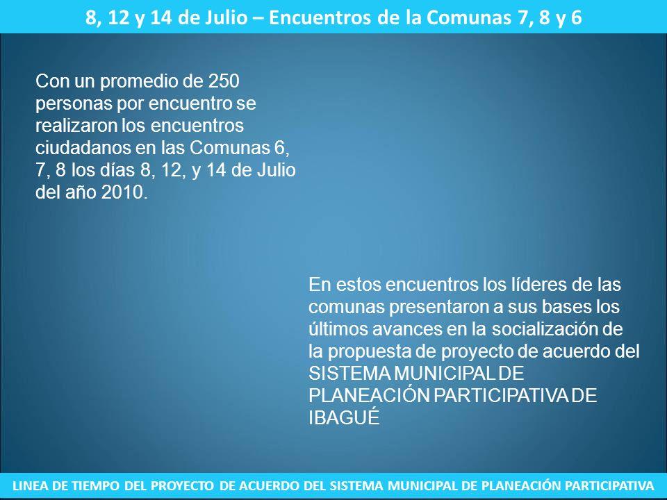 8, 12 y 14 de Julio – Encuentros de la Comunas 7, 8 y 6 LINEA DE TIEMPO DEL PROYECTO DE ACUERDO DEL SISTEMA MUNICIPAL DE PLANEACIÓN PARTICIPATIVA Con