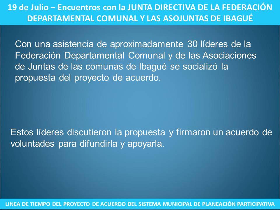 19 de Julio – Encuentros con la JUNTA DIRECTIVA DE LA FEDERACIÓN DEPARTAMENTAL COMUNAL Y LAS ASOJUNTAS DE IBAGUÉ LINEA DE TIEMPO DEL PROYECTO DE ACUER