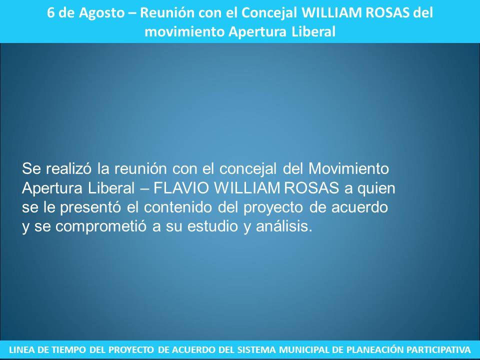 6 de Agosto – Reunión con el Concejal WILLIAM ROSAS del movimiento Apertura Liberal LINEA DE TIEMPO DEL PROYECTO DE ACUERDO DEL SISTEMA MUNICIPAL DE P