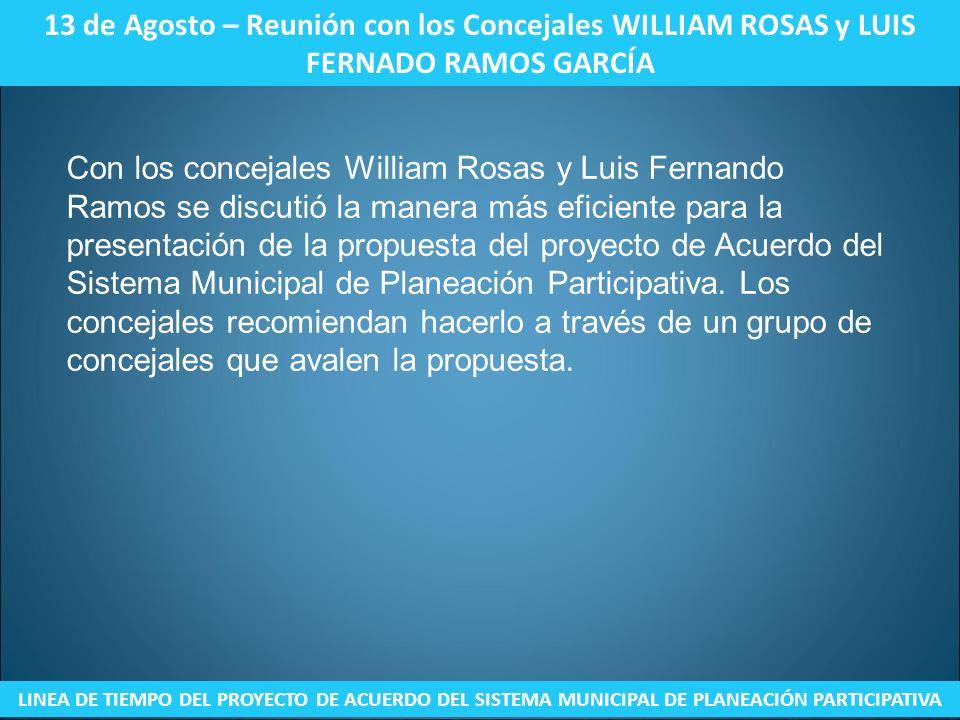 13 de Agosto – Reunión con los Concejales WILLIAM ROSAS y LUIS FERNADO RAMOS GARCÍA LINEA DE TIEMPO DEL PROYECTO DE ACUERDO DEL SISTEMA MUNICIPAL DE P