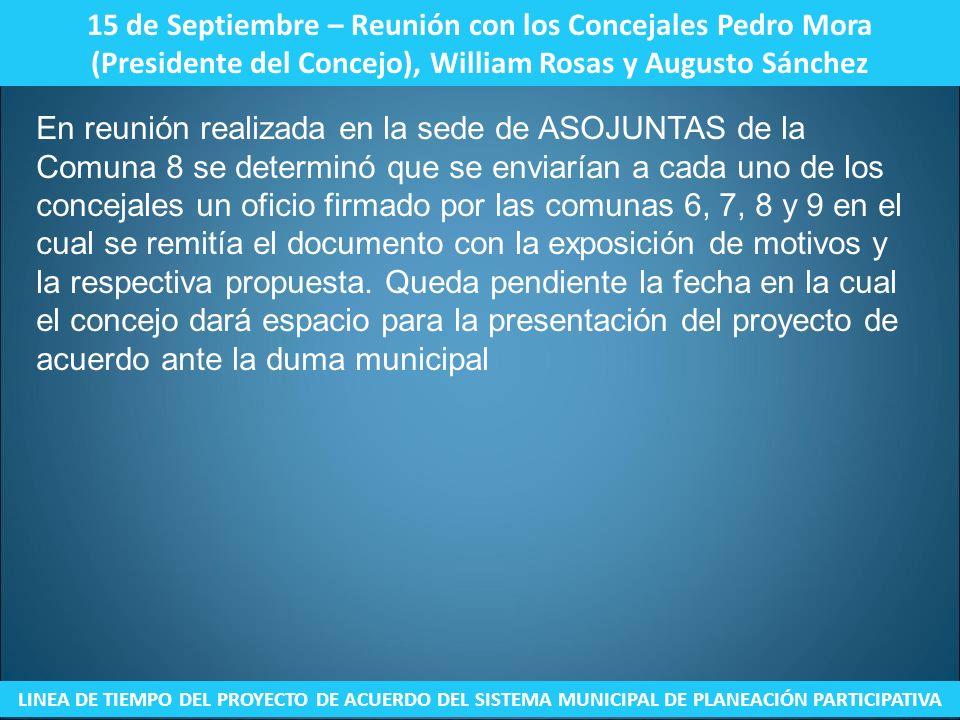 15 de Septiembre – Reunión con los Concejales Pedro Mora (Presidente del Concejo), William Rosas y Augusto Sánchez LINEA DE TIEMPO DEL PROYECTO DE ACU