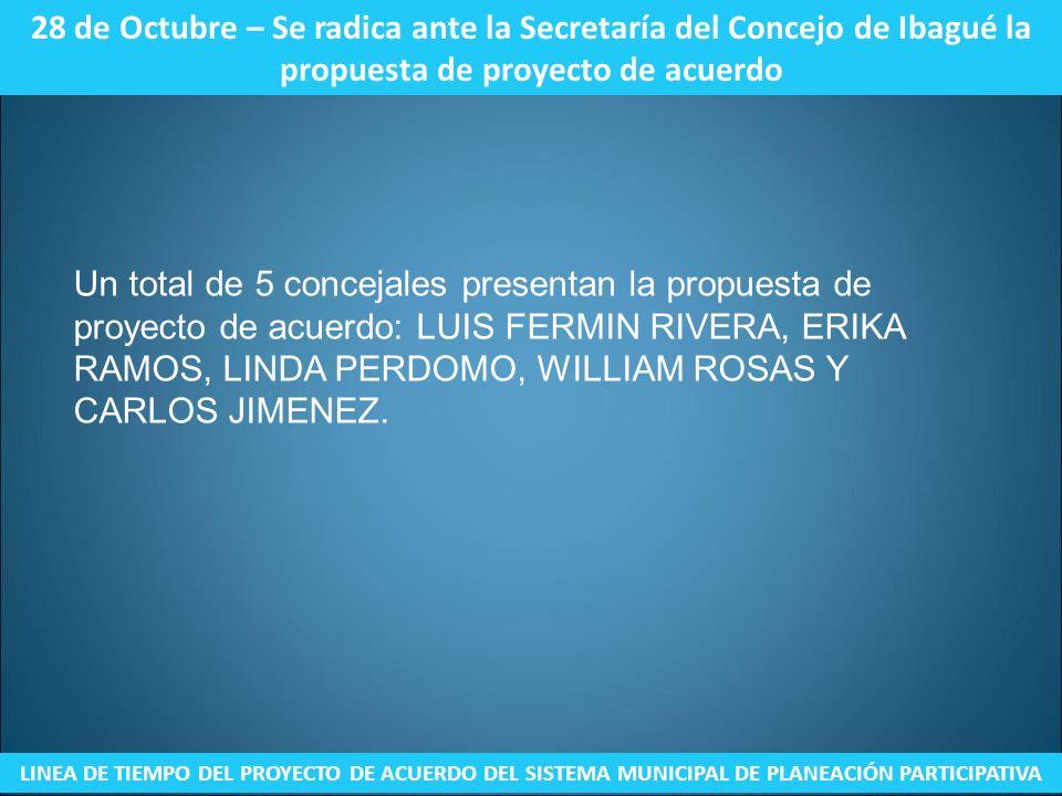 28 de Octubre – Se radica ante la Secretaría del Concejo de Ibagué la propuesta de proyecto de acuerdo LINEA DE TIEMPO DEL PROYECTO DE ACUERDO DEL SIS