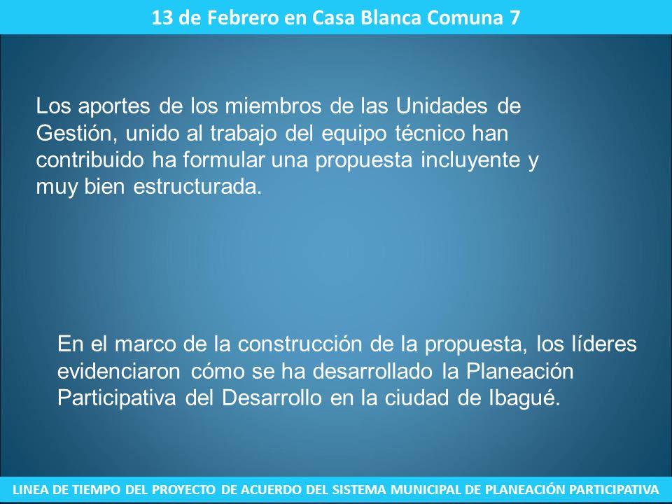 16 de Febrero Sede de Concern Universal Comuna 7 LINEA DE TIEMPO DEL PROYECTO DE ACUERDO DEL SISTEMA MUNICIPAL DE PLANEACIÓN PARTICIPATIVA En la Red para el Desarrollo Local, se realizó la presentación de la propuesta del proyecto de acuerdo del SMPP.