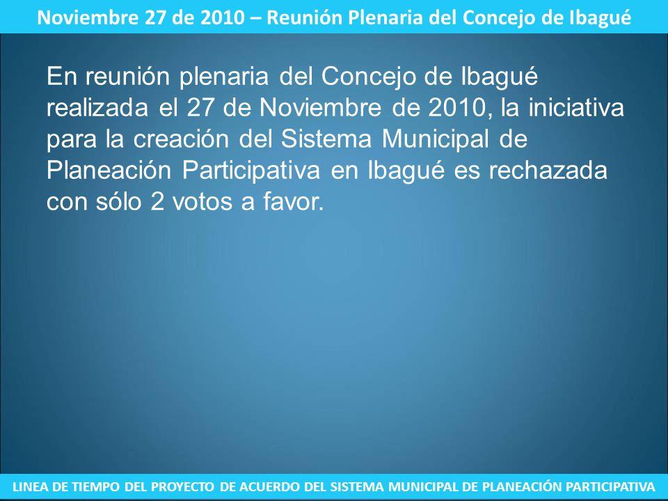 Noviembre 27 de 2010 – Reunión Plenaria del Concejo de Ibagué LINEA DE TIEMPO DEL PROYECTO DE ACUERDO DEL SISTEMA MUNICIPAL DE PLANEACIÓN PARTICIPATIV