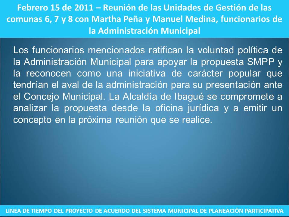 Febrero 15 de 2011 – Reunión de las Unidades de Gestión de las comunas 6, 7 y 8 con Martha Peña y Manuel Medina, funcionarios de la Administración Mun