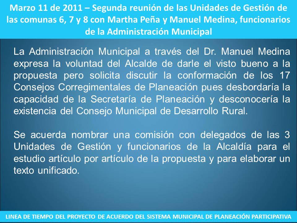 Marzo 11 de 2011 – Segunda reunión de las Unidades de Gestión de las comunas 6, 7 y 8 con Martha Peña y Manuel Medina, funcionarios de la Administraci