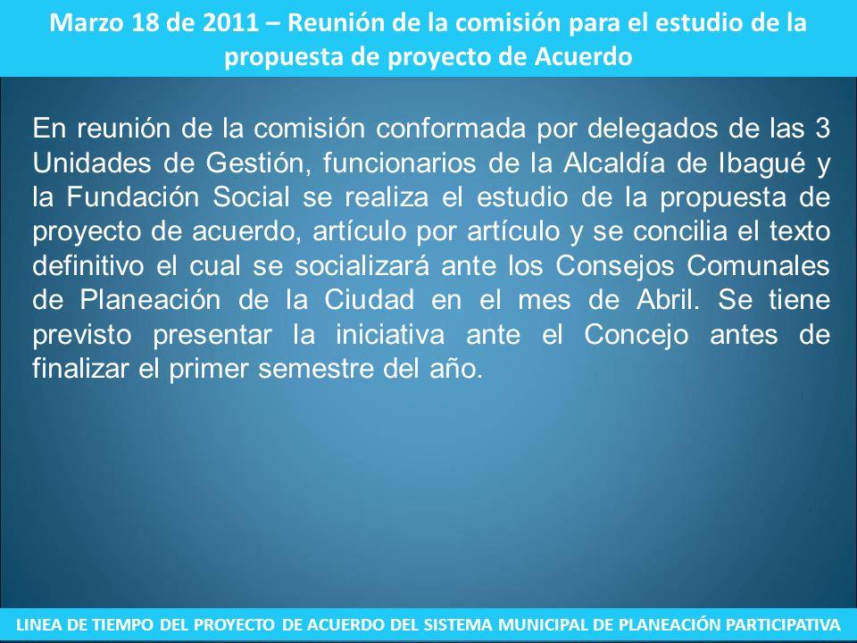 Marzo 18 de 2011 – Reunión de la comisión para el estudio de la propuesta de proyecto de Acuerdo LINEA DE TIEMPO DEL PROYECTO DE ACUERDO DEL SISTEMA M