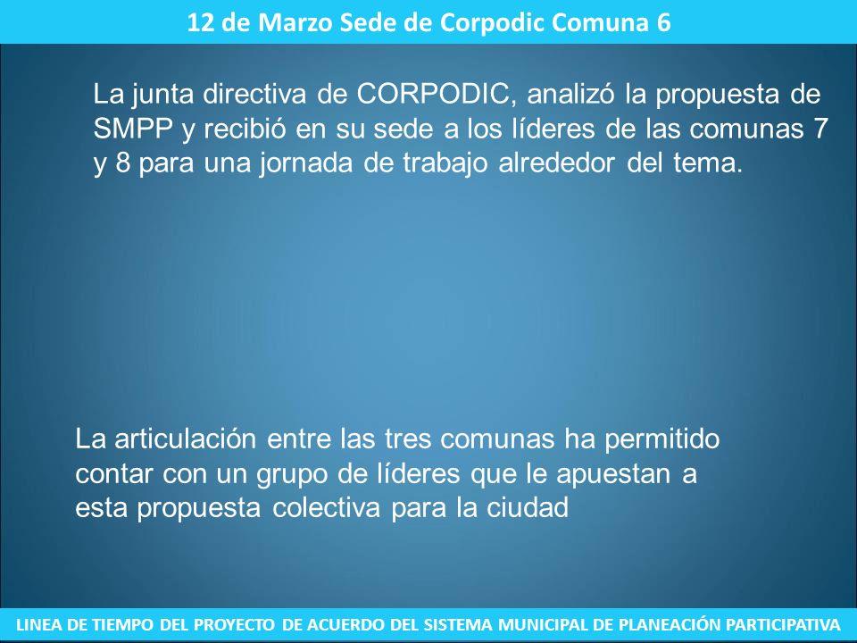 12 de Marzo Sede de Corpodic Comuna 6 LINEA DE TIEMPO DEL PROYECTO DE ACUERDO DEL SISTEMA MUNICIPAL DE PLANEACIÓN PARTICIPATIVA La junta directiva de