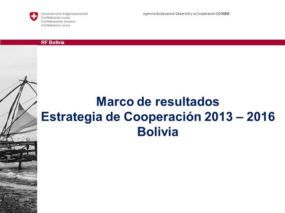 Marco de resultados Estrategia de Cooperación 2013 – 2016 Bolivia Agencia Suiza para el Desarrollo y la Cooperación COSUDE RF Bolivia