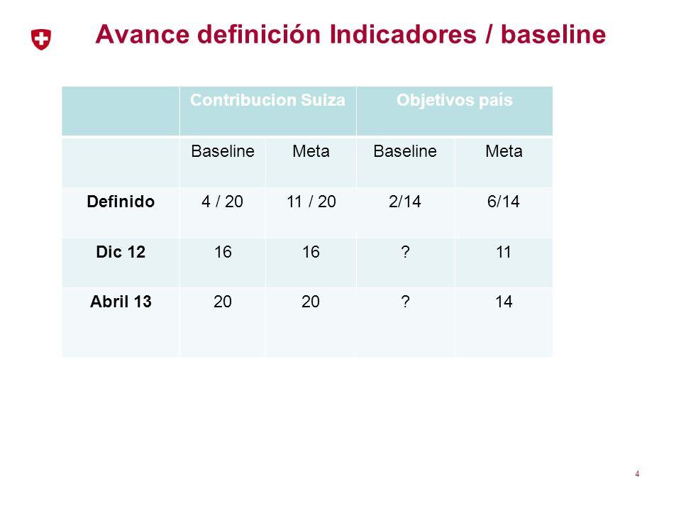 Avance definición Indicadores / baseline Contribucion SuizaObjetivos país BaselineMetaBaselineMeta Definido4 / 2011 / 202/146/14 Dic 1216 ?11 Abril 13