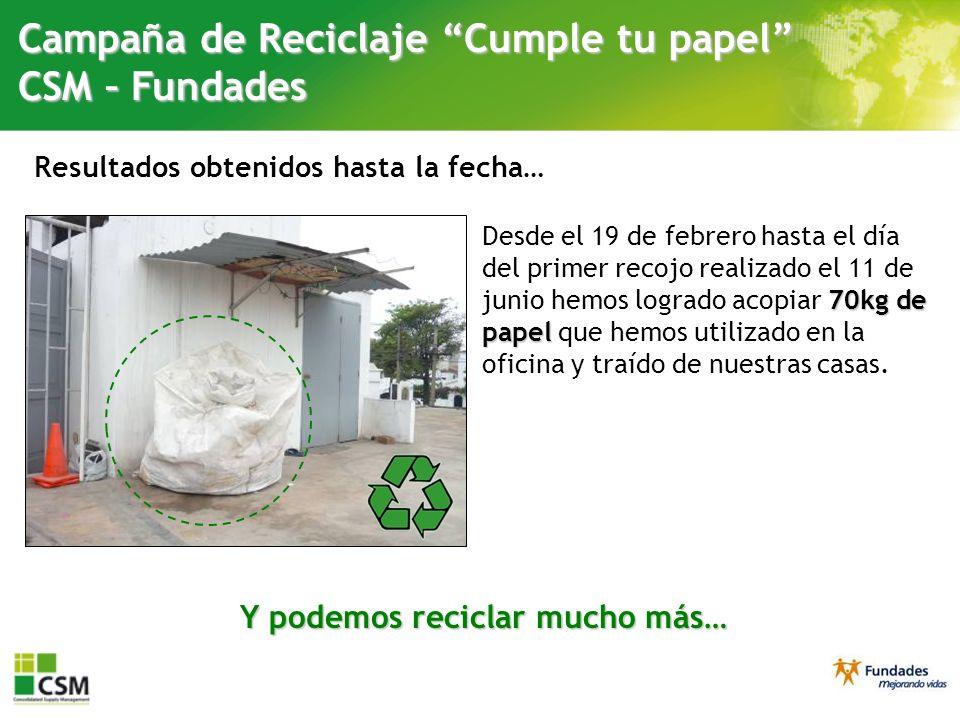 Resultados obtenidos hasta la fecha… Campaña de Reciclaje Cumple tu papel CSM – Fundades 70kgde papel Desde el 19 de febrero hasta el día del primer r