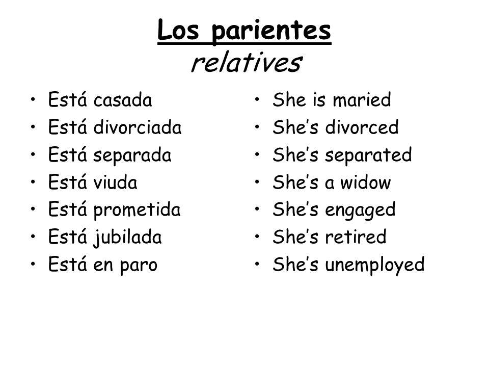 Los parientes relatives Está casada Está divorciada Está separada Está viuda Está prometida Está jubilada Está en paro She is maried Shes divorced She