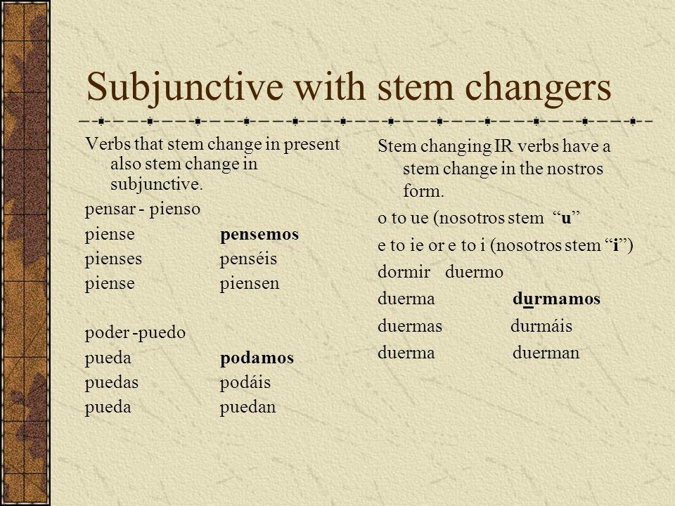 Subjunctive with stem changers Verbs that stem change in present also stem change in subjunctive. pensar - pienso piensepensemos piensespenséis piense