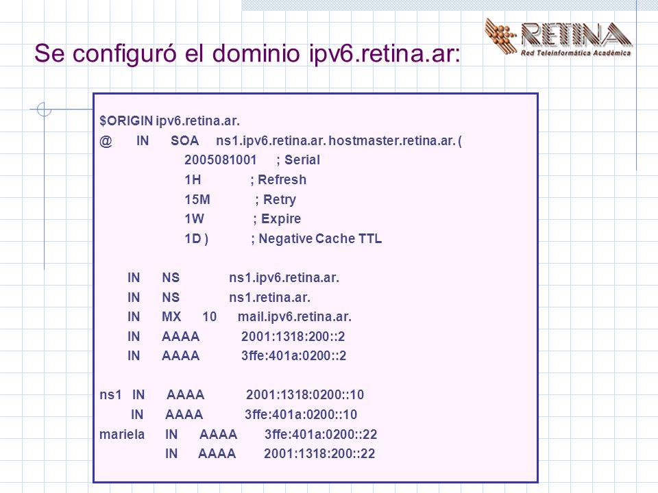 Se configuró el dominio ipv6.retina.ar: $ORIGIN ipv6.retina.ar.