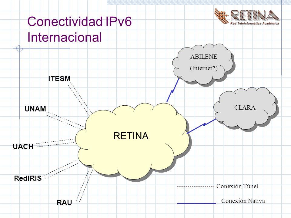 Conectividad IPv6 Internacional ABILENE (Internet2) CLARA RETINA ITESM UNAM UACH RedIRIS RAU Conexión Túnel Conexión Nativa