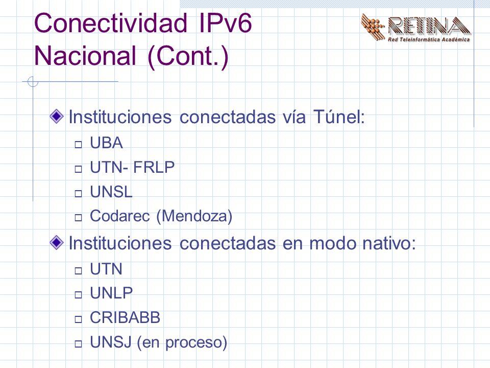 Conectividad IPv6 Nacional (Cont.) Instituciones conectadas vía Túnel: UBA UTN- FRLP UNSL Codarec (Mendoza) Instituciones conectadas en modo nativo: UTN UNLP CRIBABB UNSJ (en proceso)