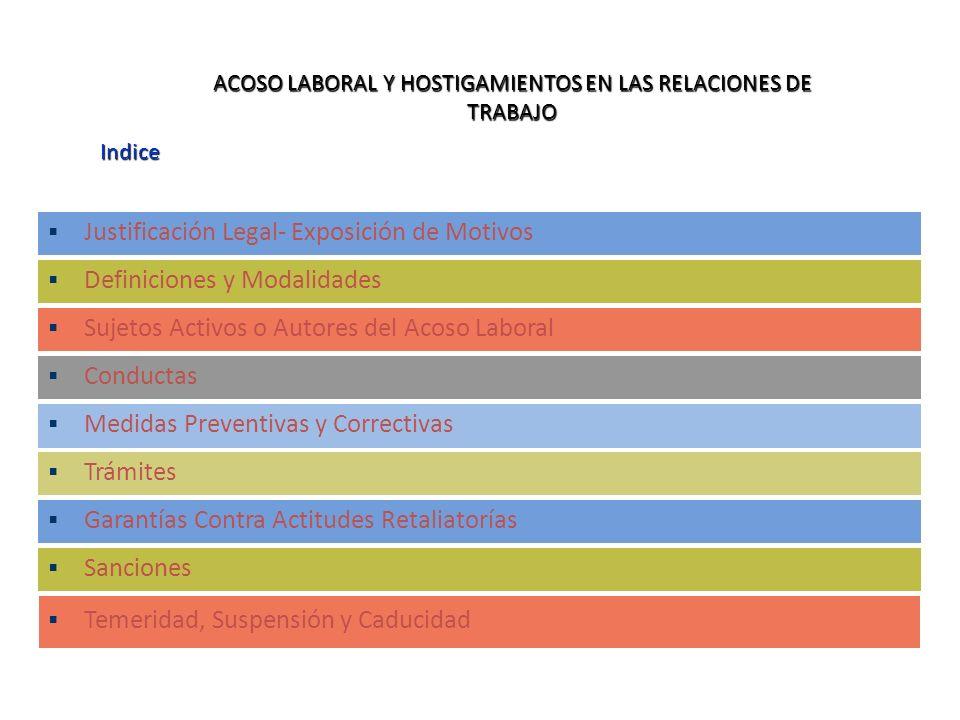 Indice ACOSO LABORAL Y HOSTIGAMIENTOS EN LAS RELACIONES DE TRABAJO Justificación Legal- Exposición de Motivos Definiciones y Modalidades Sujetos Activ