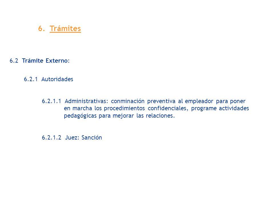 6.2 Trámite Externo: 6.2.1 Autoridades 6.2.1.1 Administrativas: conminación preventiva al empleador para poner en marcha los procedimientos confidenci