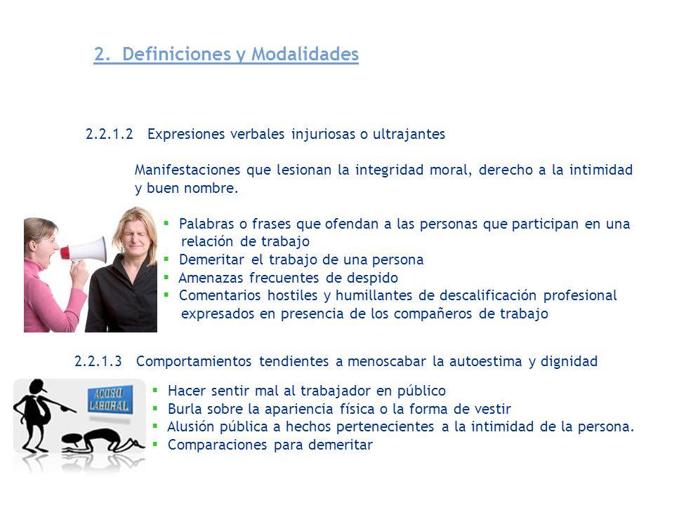 2. Definiciones y Modalidades 2.2.1.2 Expresiones verbales injuriosas o ultrajantes Manifestaciones que lesionan la integridad moral, derecho a la int